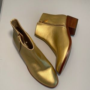 Kate Spade leather gold boots excellent condition